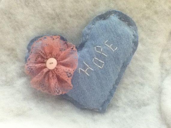 Hope Denim Heart Pillow  Upcycled Jeans  by BlueBarnHillCraftsIn, $9.99