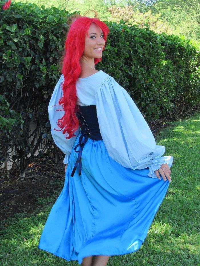 08699d1f41026 3 Pc Ariel Princess Cosplay Little Mermaid Costume Gown Land Dress ...