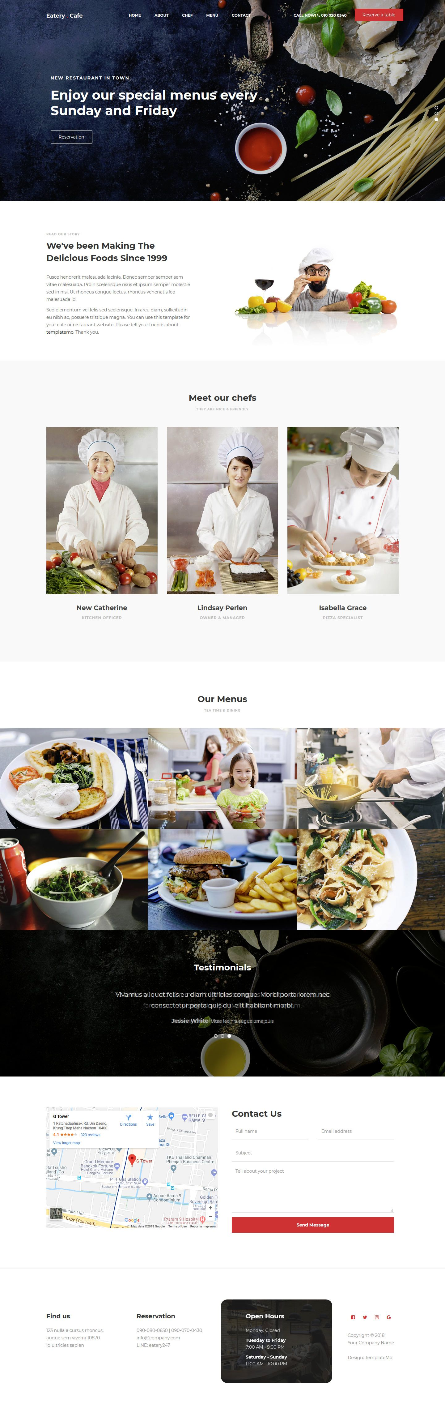 Eatery cafe is a restaurant css web template with
