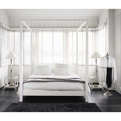 Lit A Baldaquin 160x200 En Pin Blanc Casse Home Bedroom