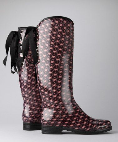 Take a look at this Blush Plaid Victoria Rain Boot by däv on #zulily today!