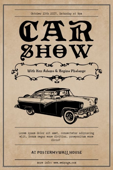 Vintage Car Show Flyer Template  Postermywall  Retro Vintage And