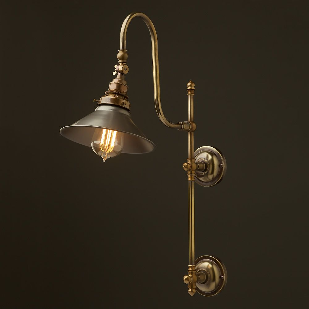 Antique Brass Adjule Arm Wall Mount Shade Earthed Ceramic Insert And Insulated Thread Terminals