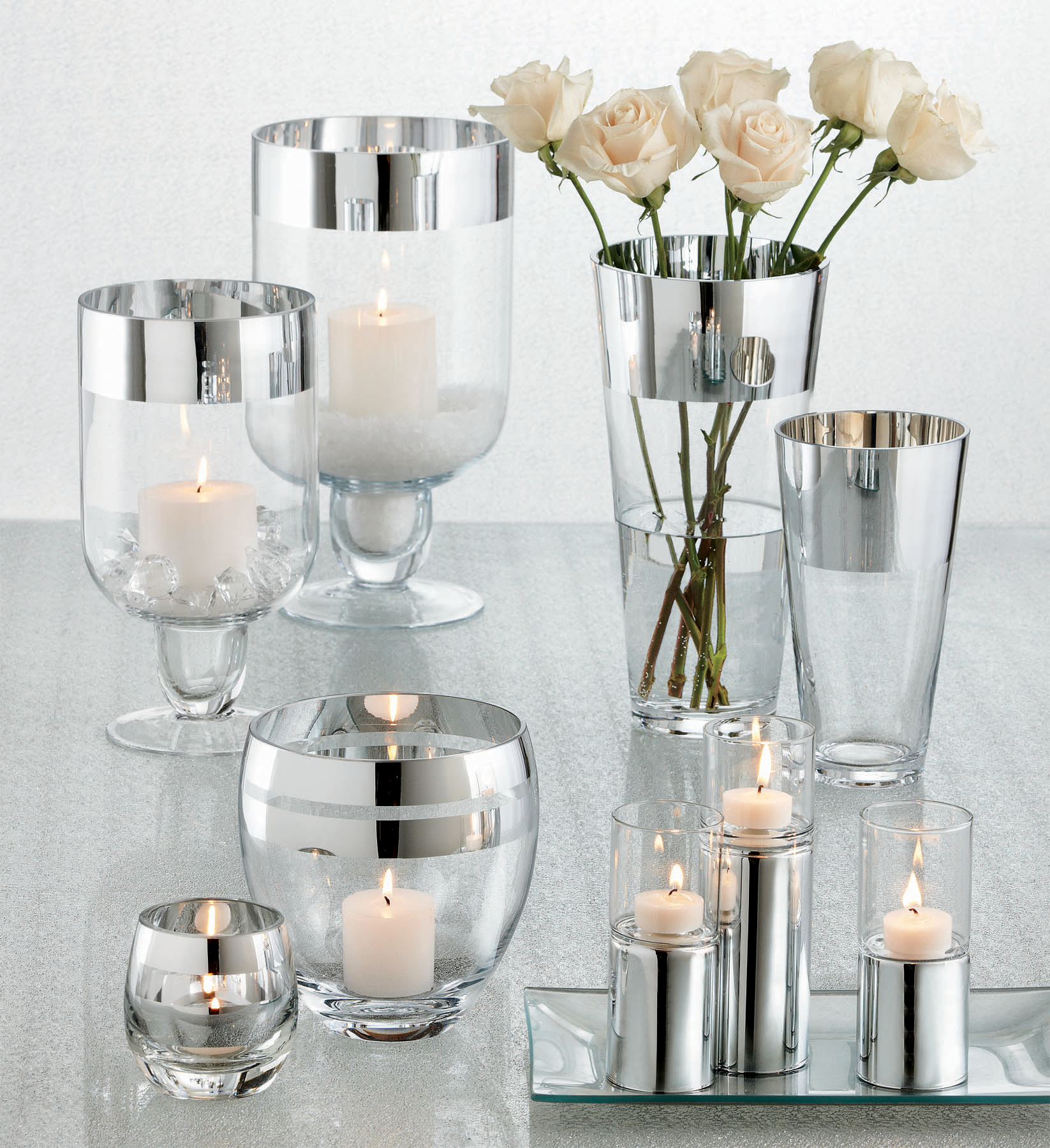 Shimmering Tabletop Centerpieces And Home Decor Silver Trimmed Glass Candles And Vases Perfect For A Little Added Wedding Bling Candles Dream Wedding