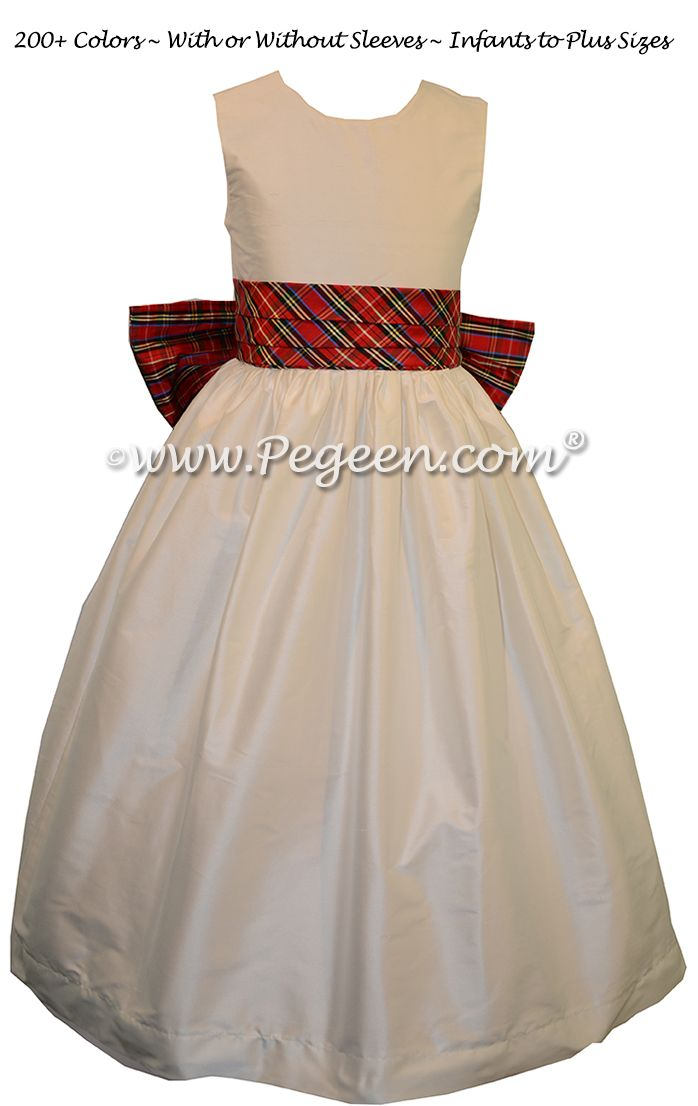d4d2537a9ee New Ivory and Christmas Plaid Silk Flower Girl Dresses by Pegeen ...