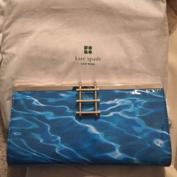 scratched silver rare kate spade pool party clutch 100 authentic rare kate