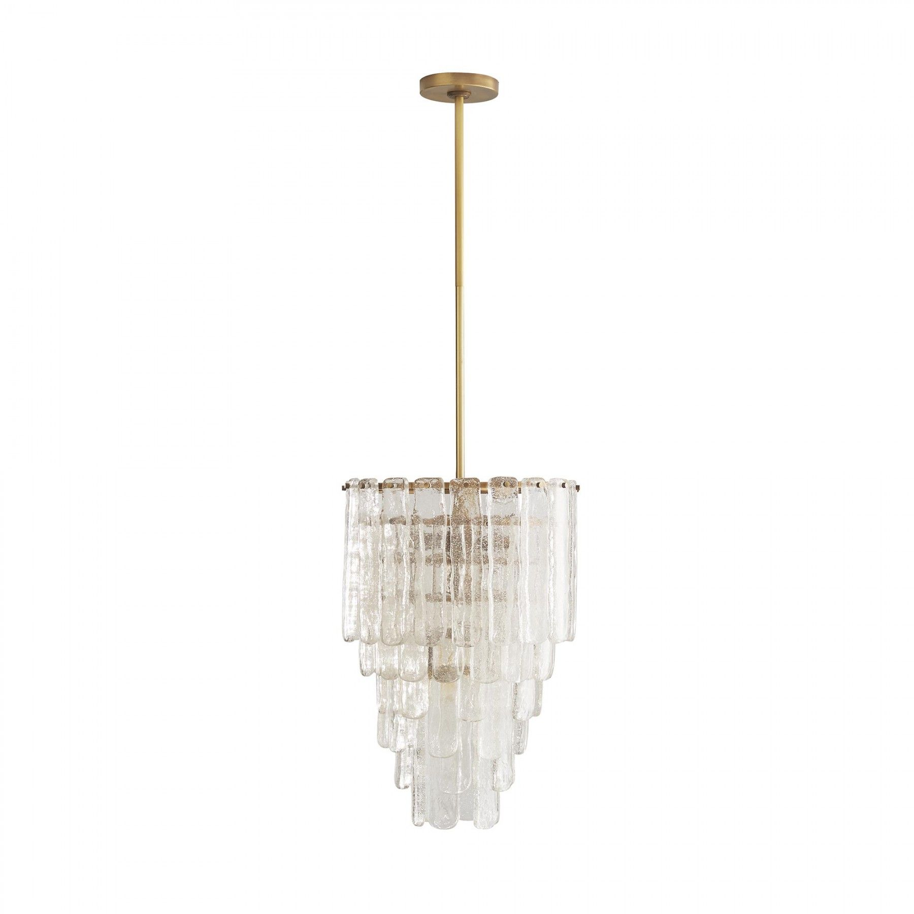 Five Tiers Of Clear Seedy Glass Plates Come Together To Form The Arresting Three Light Larie Chandelier Steel Frame S Antique Brass Finish Sets A