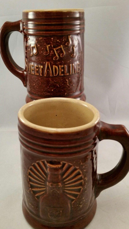 Sweet Adeline Beer Pottery Mug Stein Lot Of 2