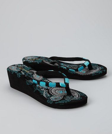 54e71f76014 Take a look at this Black Paisley Wedge Sandal by Raya Sun on  zulily today!