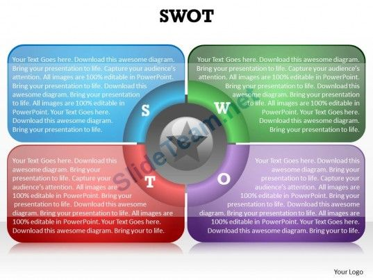 swot_framework_shown_by_4_boxes_blue_red_purple_red_and_star_in_center_powerpoint_diagram_templates_0712_Slide01