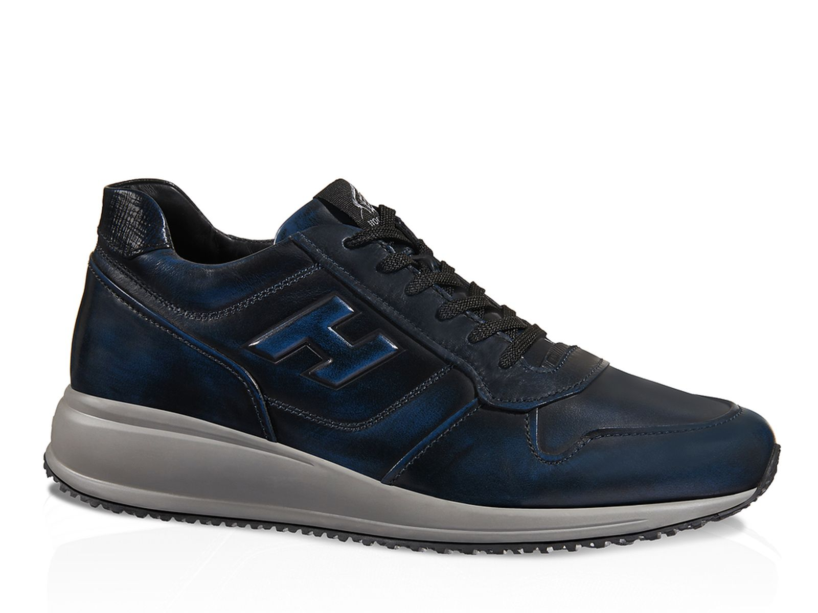 Hogan Interactive N20 blue two-tone soft leather shoes - Italian ...