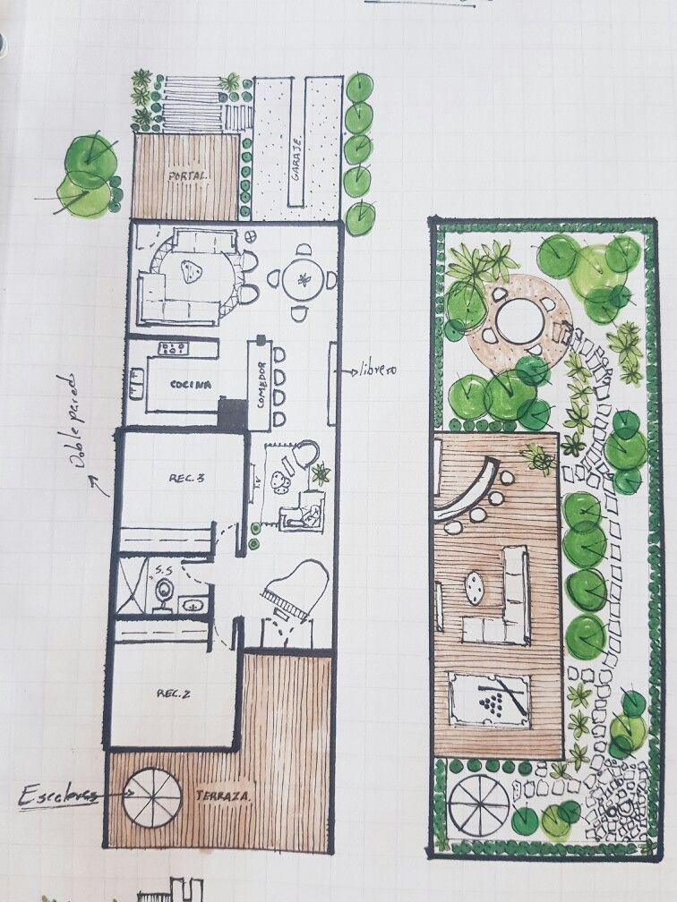 Planta arquitectónica Azotea verde mis bocetos Pinterest