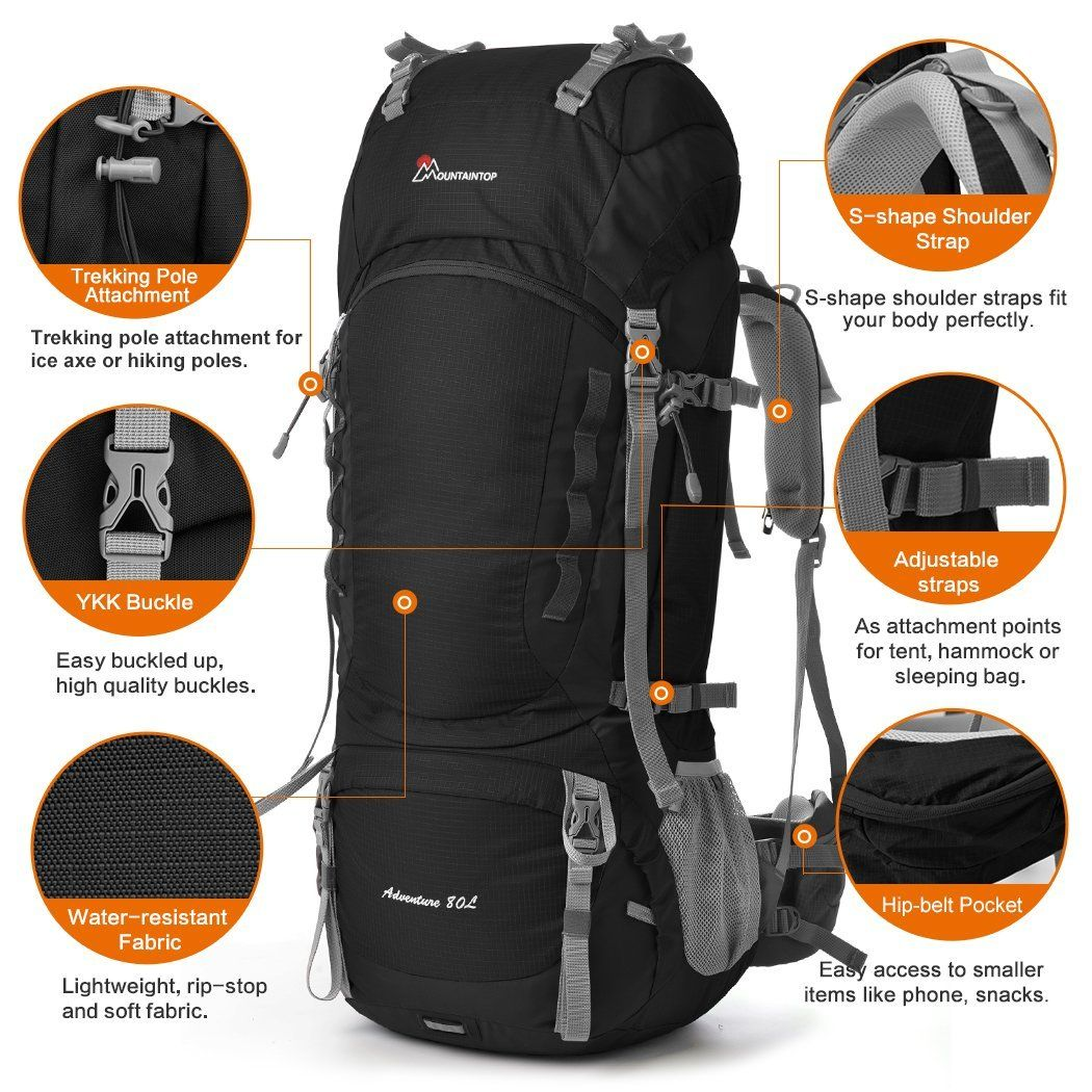 Mountaintop 75l 80l Internal Frame Backpack Hiking Backpack With