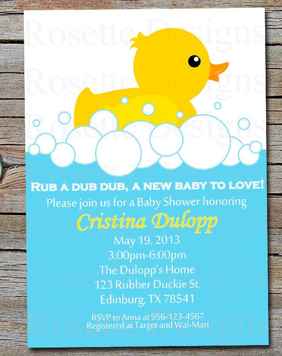 rubber ducky baby shower invitation rubber duck tub digital printable boy or girl. Black Bedroom Furniture Sets. Home Design Ideas