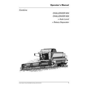 Challenger 654, 658 Combine Harvester Operator's Manual