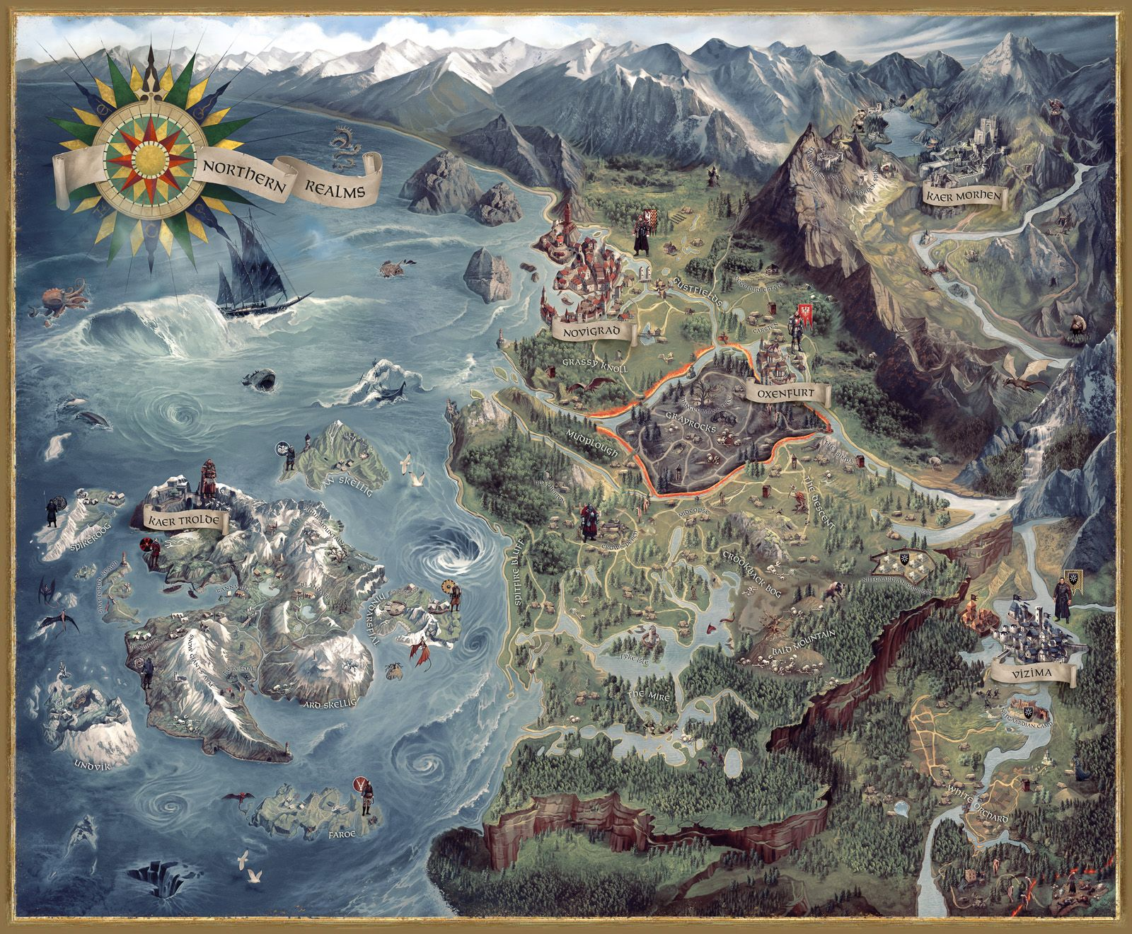 Pin on The Witcher III: Wild Hunt' Fine Art Prints Witcher World Map Detailed on witcher 3 armor sets, witcher 3 all maps, the witcher map detailed, witcher 3 cave of ruins,