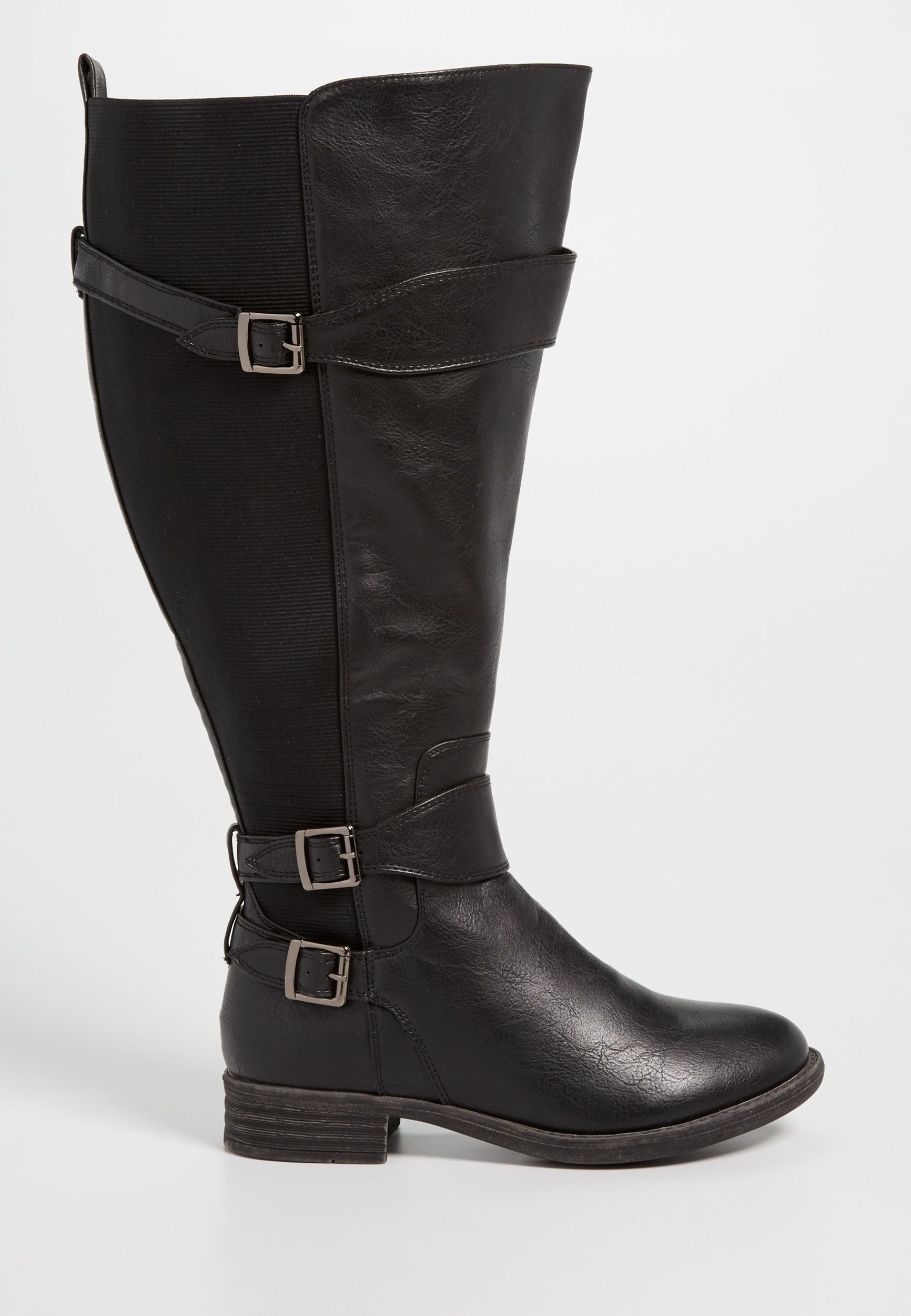b0d41729f9d Shelby faux leather and gore extra wide calf boot in black