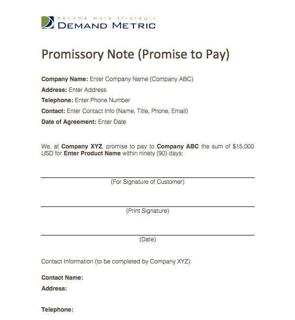 Promise To Pay Template  This Is A Simple Form Where One Party