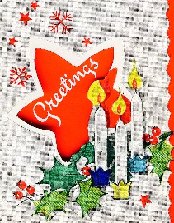 Christmas Greetings. Christmas Star. Christmas Candles. Vintage ...