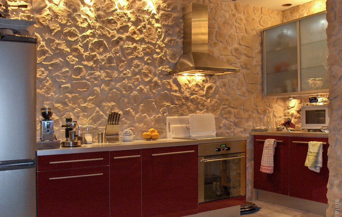 Küche Steinwand Optik Mamposteria | Küche mit Steinwand | Pinterest ...