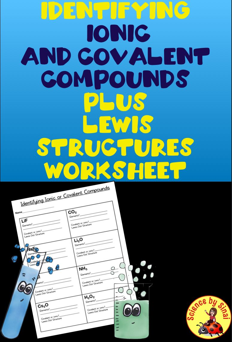 Identifying Ionic And Covalent Compounds Lewis Dot Diagrams Worksheet Hs Ps1 Middle School Science Resources Middle School Lessons Interactive Science Notebook