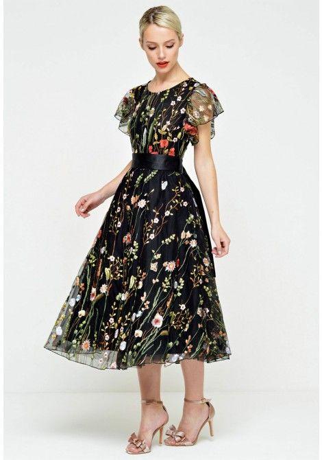 Marc Angelo Sienna Flutter Sleeve Embroidered Dress in Black en 2018 ... 3a5e86d43277