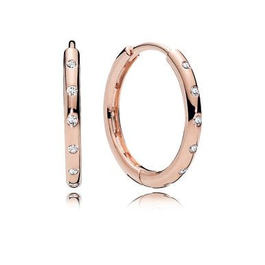 Droplets Hoop Earrings Pandora Rose Clear Cz