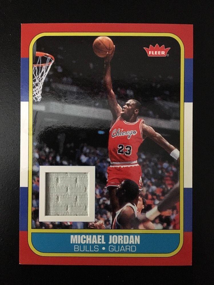 Michael Jordan 1986-87 RC  Version 2007-08 Fleer  GU JERSEY RARE #ChicagoBulls