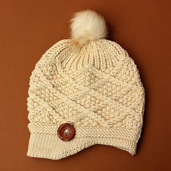 de7b88f35d9 Women Ladies Button Crochet Knit Beret Hat Ski Baggy Beanie Ball Woolen Cap