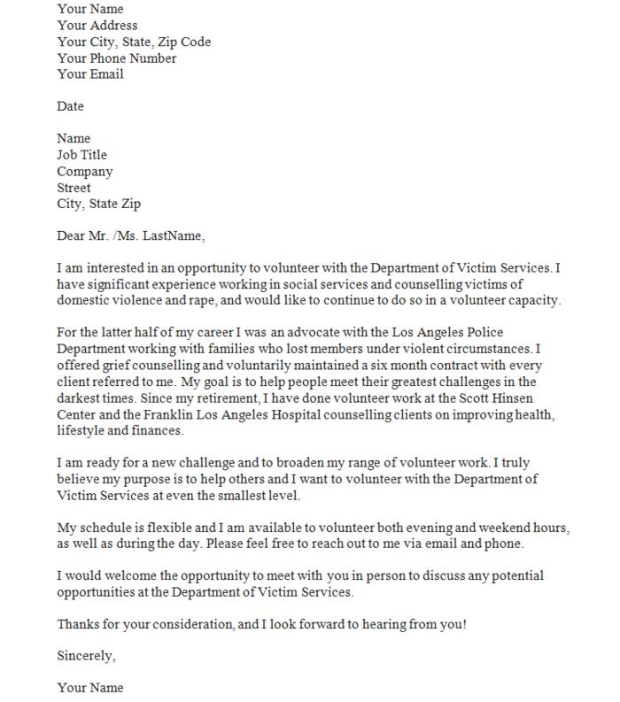 Cover Letter Template Volunteer
