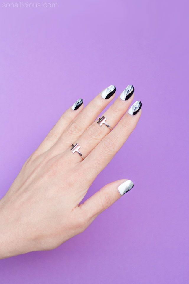 Graphic Black And White Nail Art Tutorial White Nail Art White