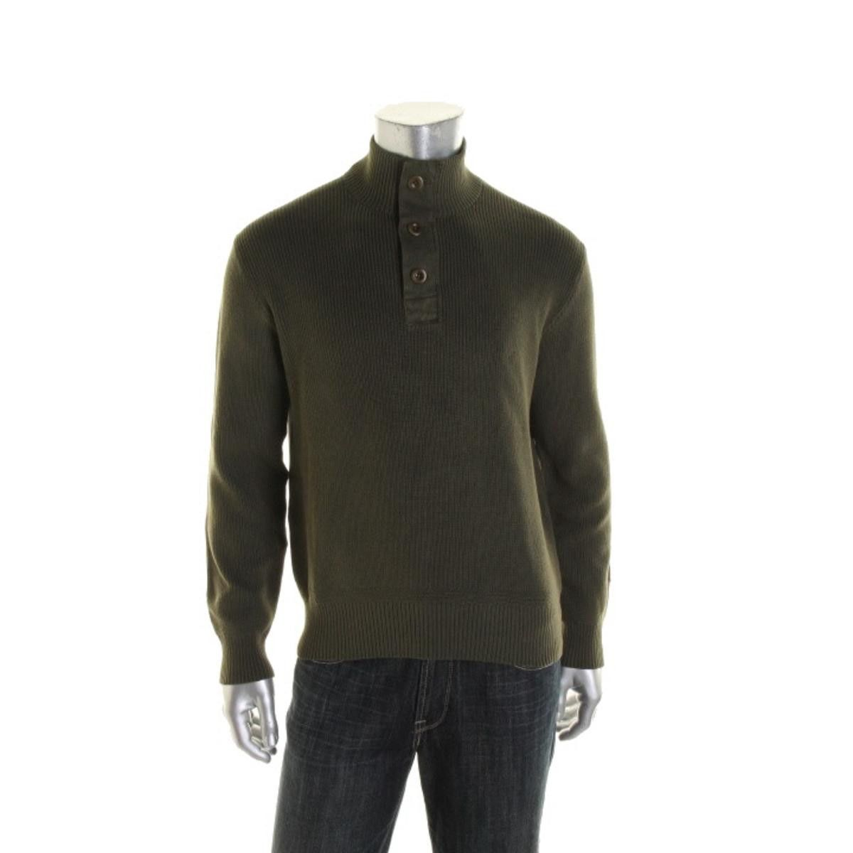 Mens Ribbed Knit Elbow Patches Mock Turtleneck Sweater | Ralph ...