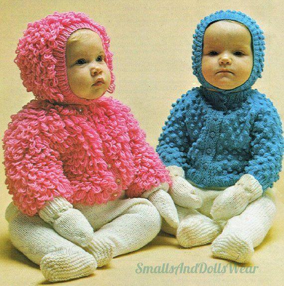 cce5e84c5 Vintage Knitting Pattern Baby Girl Boy Loop   Bobble Stitch Cardigan ...