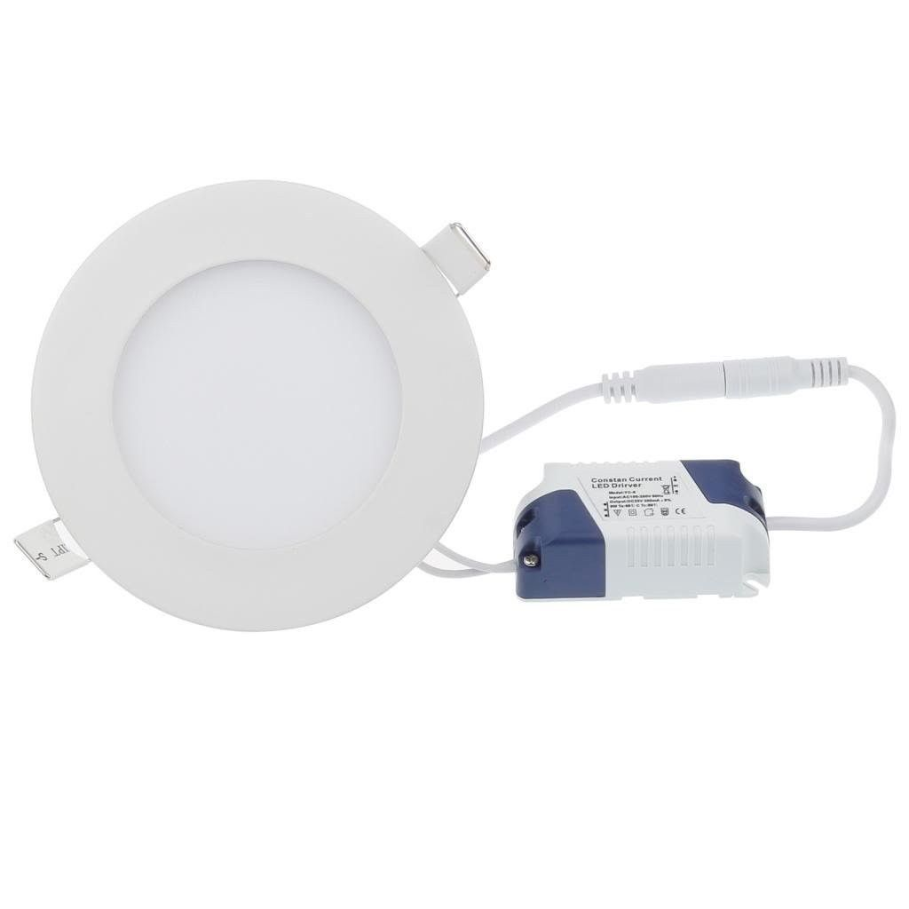"4 3 4"" OD Round LED Panel Light 6W Recessed 4000K"