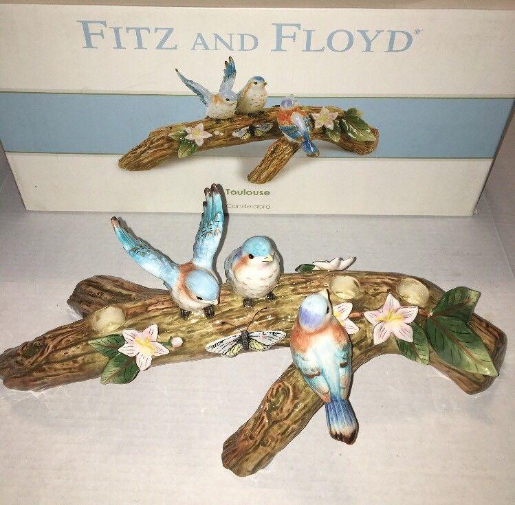 Fitz And Floyd Toulouse Candelabra 3 Light Blue Birds On Branch Original Box Fitz And Floyd Bird On Branch Blue Bird
