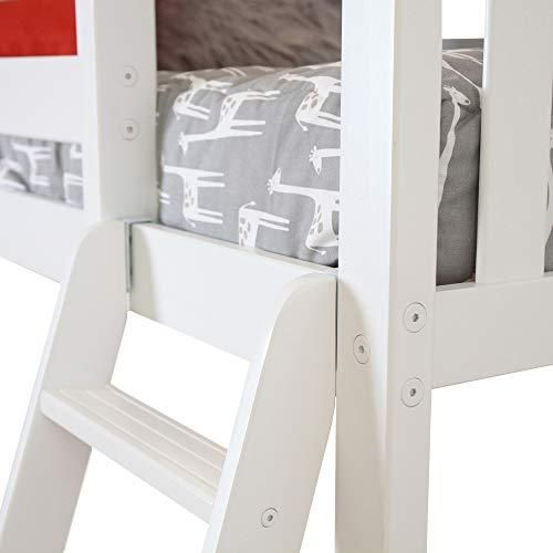 24 Max & Lily Solid Wood Twin Size High Loft Bed with Bookcase, White