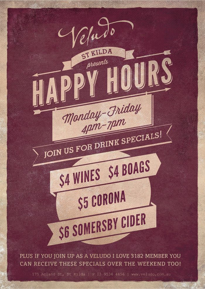 Veludo Happy Hours Specials Pre Happy Hour Specials