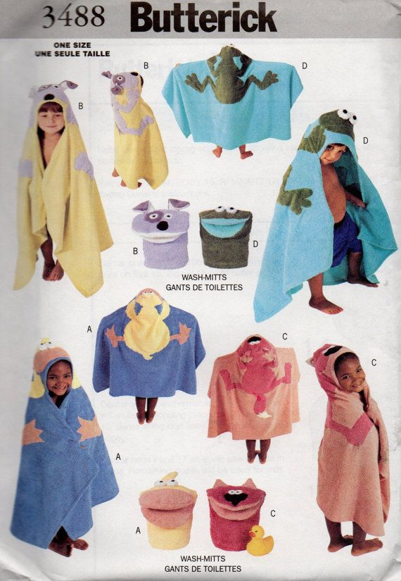 Butterick 3488 Boys And Girls Toddlers Bath Accessories Pattern
