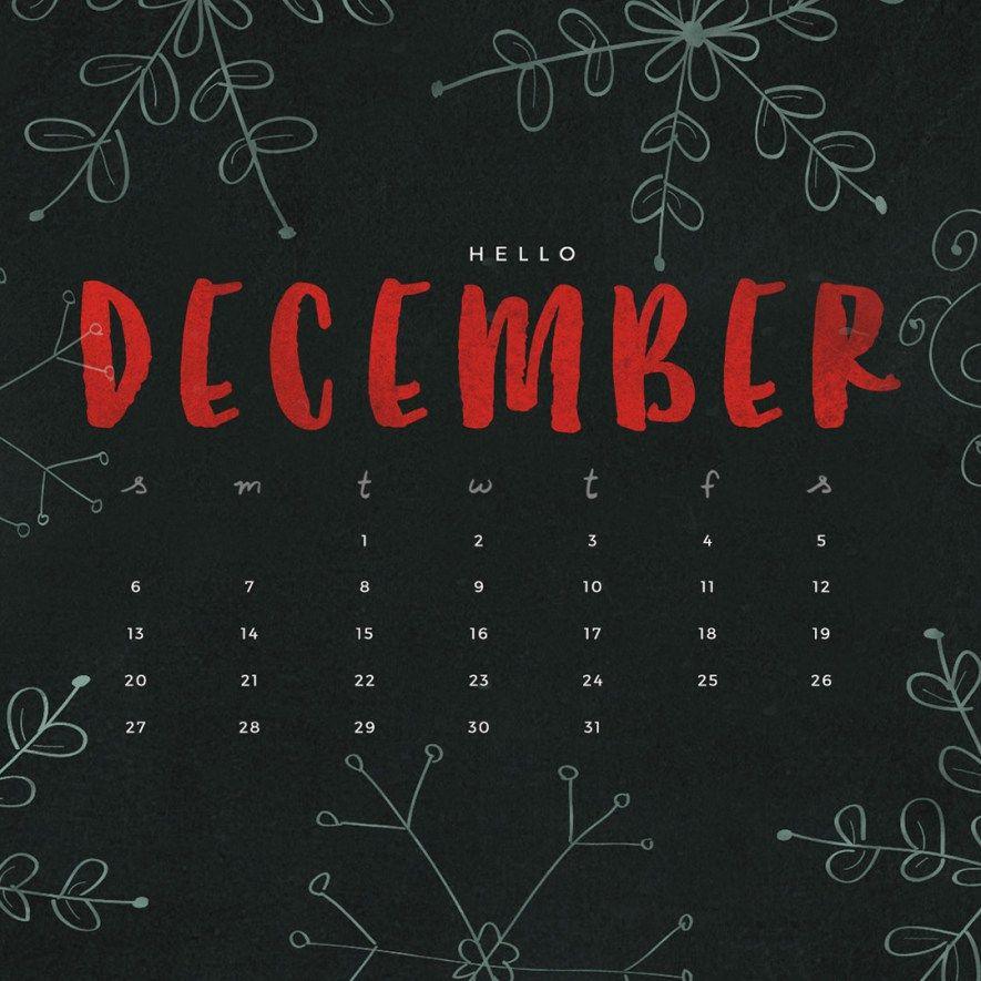 Free December 2015 Calendar #hellodecemberwallpaper
