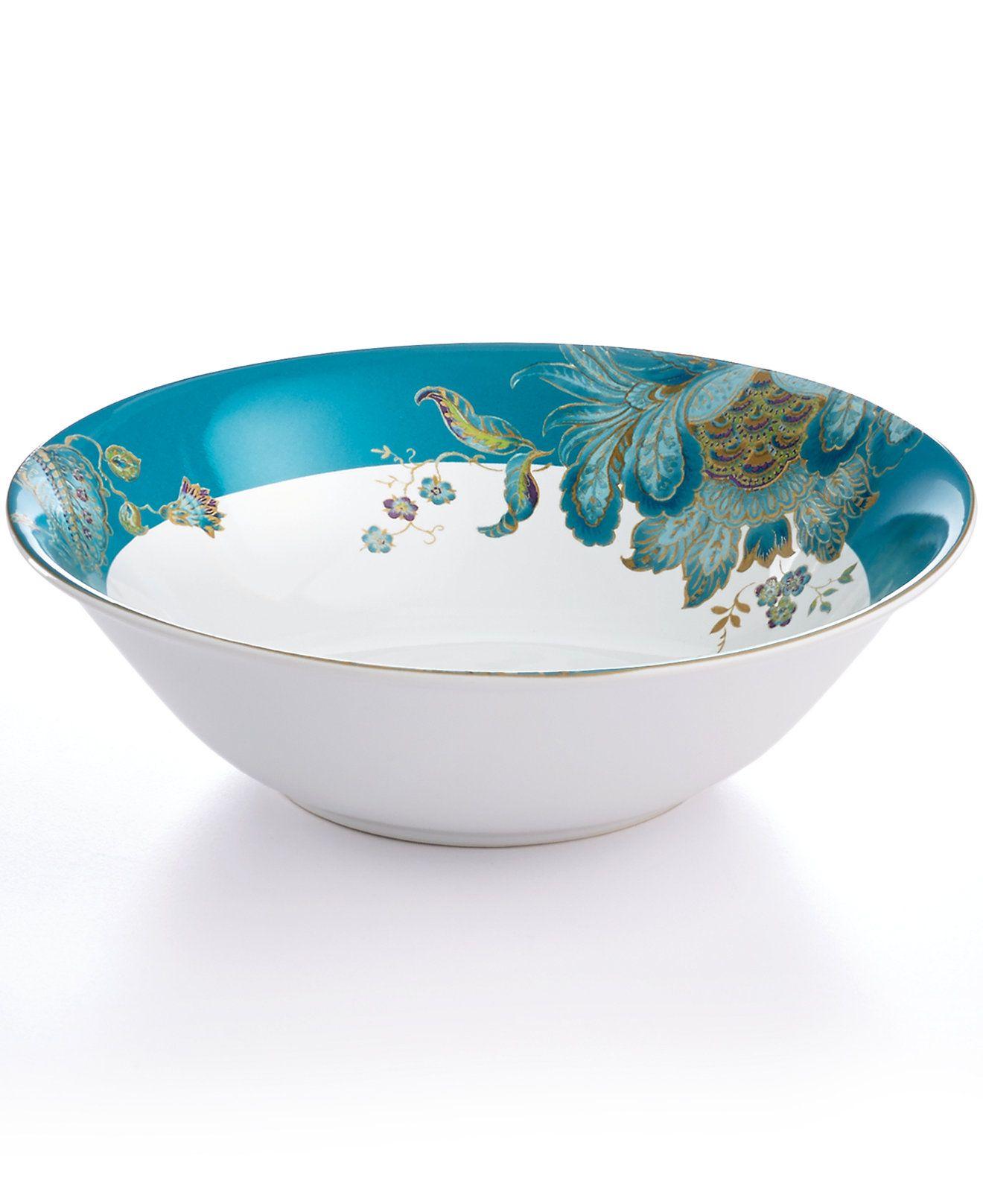 222 Fifth Eliza Teal Round Bowl - Serveware - Dining & Entertaining ...