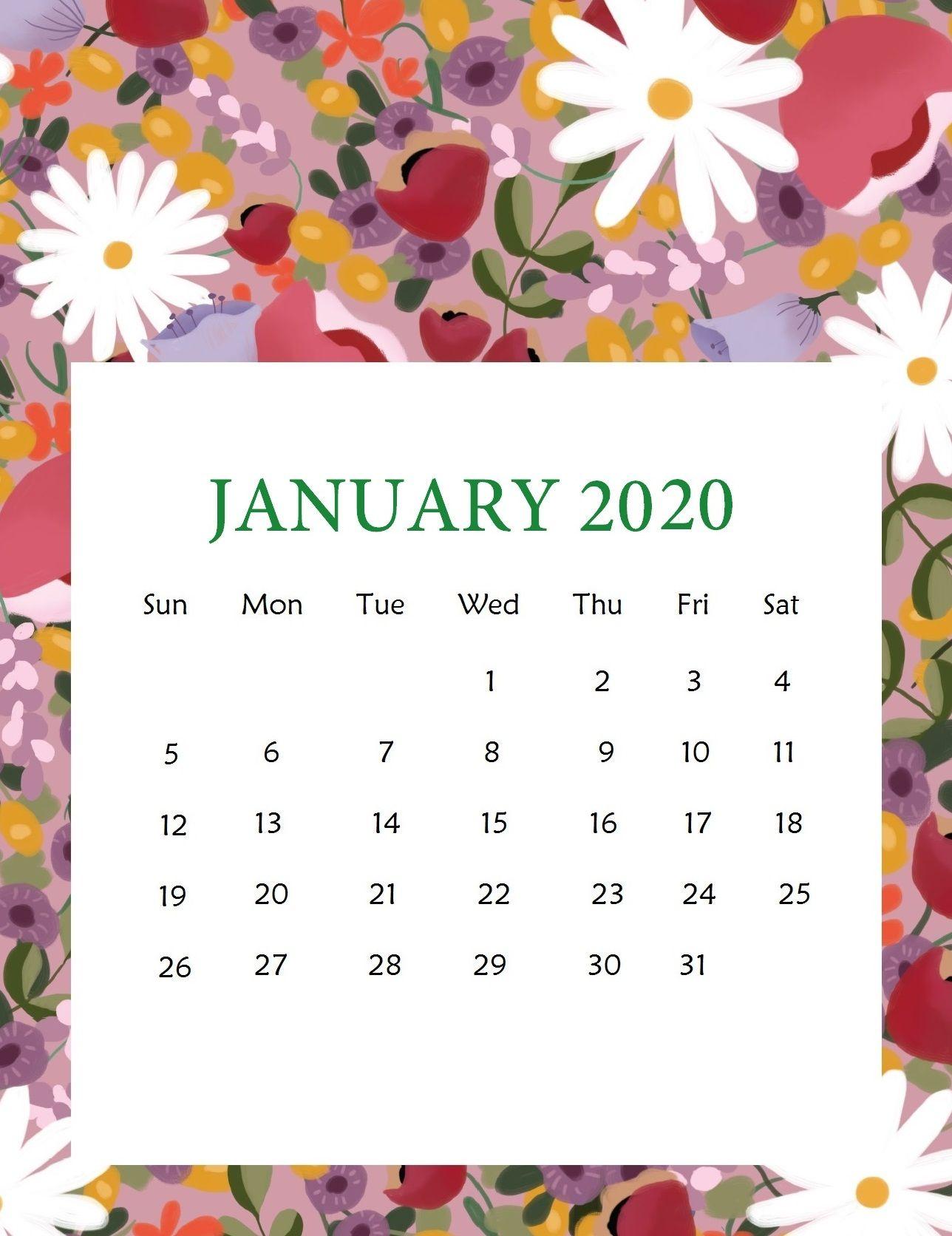 Unique 15 Cute January 2020 Calendar Desk Wallpaper Floral For Desktop Iphone Blank Printa January Calendar Free Printable Calendar Templates Kids Calendar