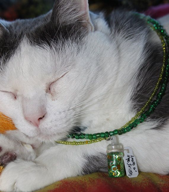 Luck o' the Irish potion necklace, st. patties, bottled Irish magic, green and gold double strand, Glitter and magic, Harry potter wizardry, jewelry cat