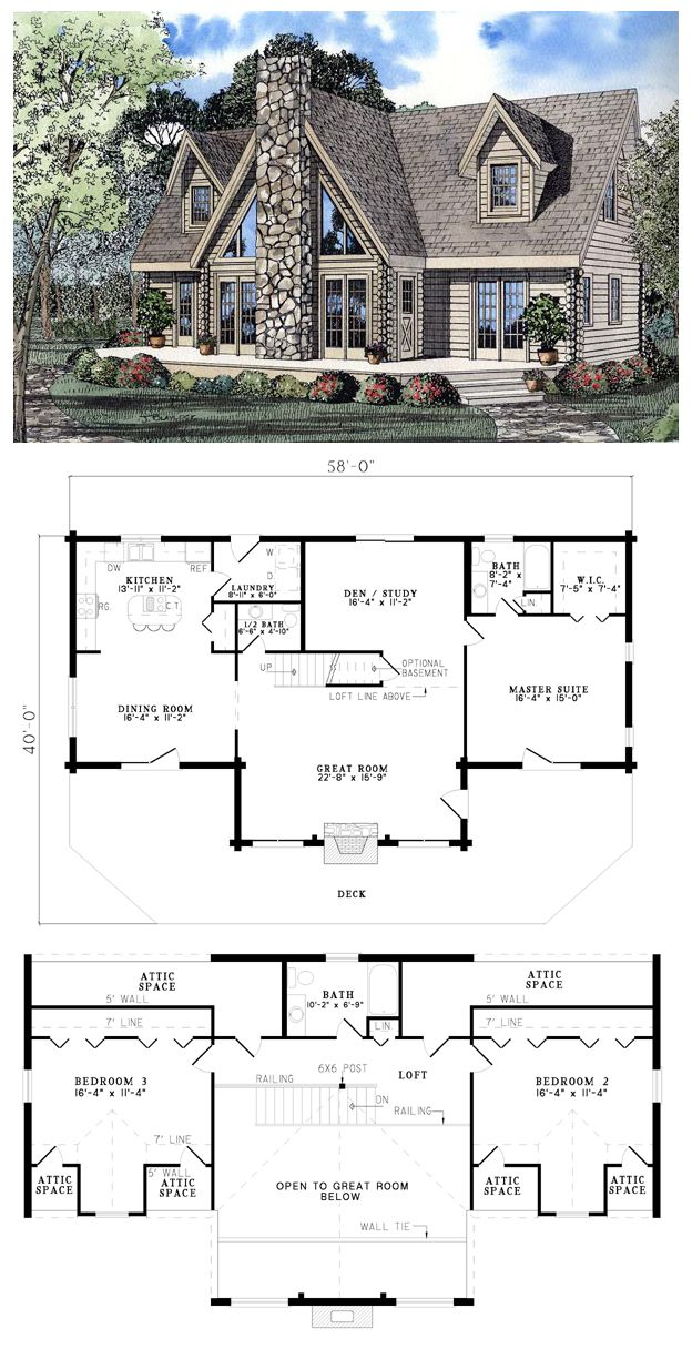 A-Frame Contemporary Log House Plan 61105 | Logs, Bedrooms and House