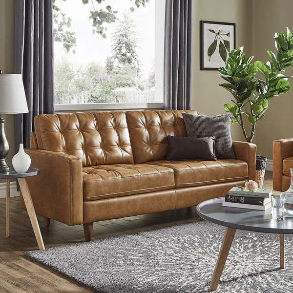 Best Odin Caramel Leather Gel Sofa By Inspire Q Modern Living 400 x 300