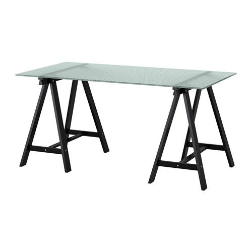 IKEA   GLASHOLM / ODDVALD, Table, , This Desk Is Made Of Durable Tempered  Glass With A Timeless Honeycomb Pattern And Trestles Made Of Solid Wood.