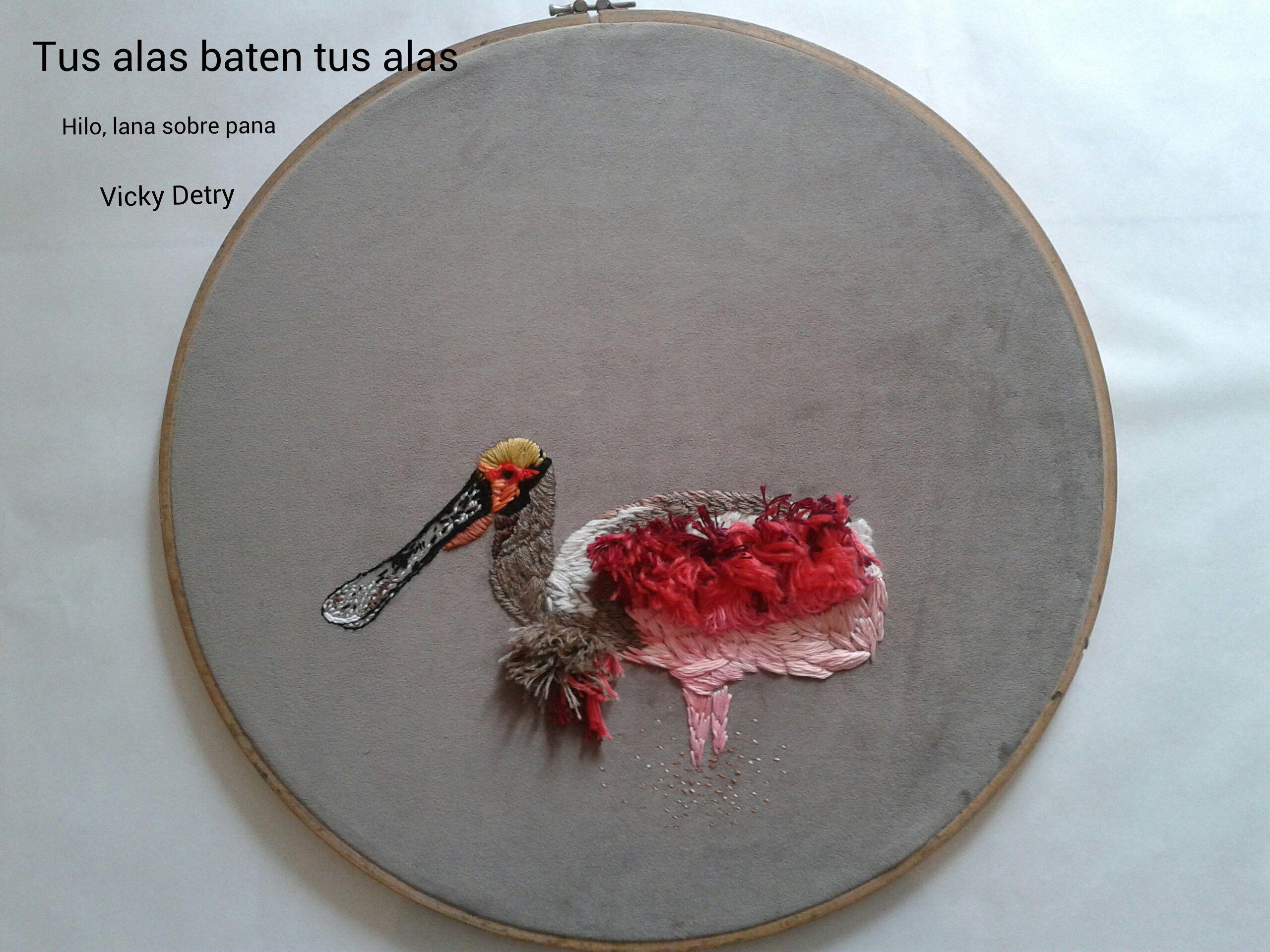 Tus alas baten tus alas Hilo de algodón, lana natural sobre pana Muestra Puertas Abiertas