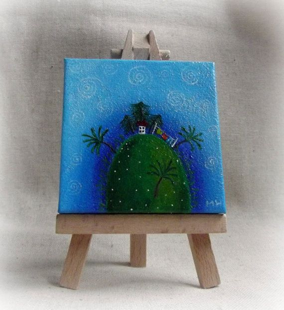Miniature Acrylic Painting -  'Home On The Hill' For sale at: https://www.etsy.com/shop/ThePresents