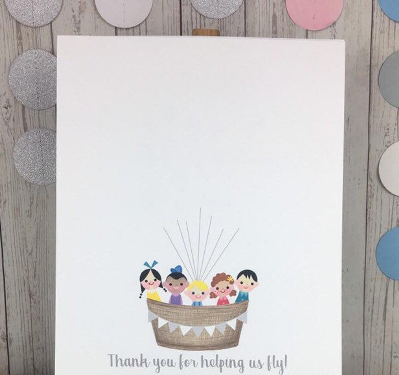 INSTANT DOWNLOAD teacher fingerprint gift end of year fingerprint tree teacher appreciation hot air balloon teacher thank you gift ideas