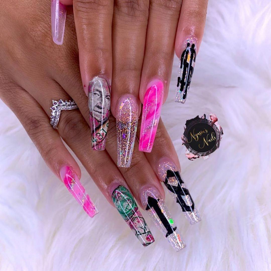 Nyasiasnails 18th Birthday Queen Birthday Nails 21st Long Repost In 2020 Birthday Nails 21st Birthday Nails Pretty Acrylic Nails