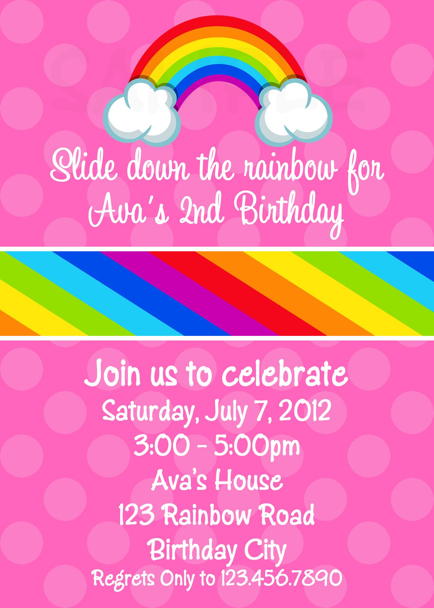 Rainbow Birthday Party Invitation Rainbow birthday invitations